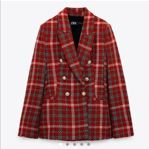 Plaid double breasted blazer red with gold buttons